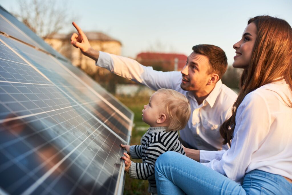 family with solar panels
